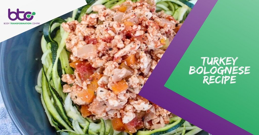 Turkey Bolognese with courgette spaghetti in a bowl